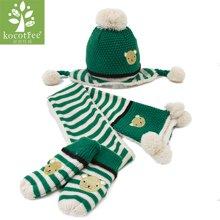 KK树儿童帽子围巾手套三件套一体秋冬男女童小孩宝宝帽子围巾套装 KQ15395  包邮