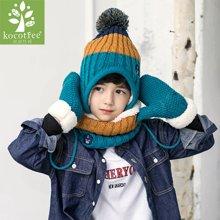 kk树保暖儿童帽子围巾手套三件套加厚宝宝帽子秋冬男女童围脖卡通  KQ17636  包邮