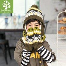 kk树儿童帽子围巾手套三件套秋冬宝宝帽子围巾套装一体男女童冬季 KQ17625  包邮