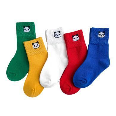 謎子 5雙裝兒童襪子秋季新款男童短襪時尚拼色襪子中小童刺繡短襪