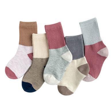 谜子 5双装儿童袜子秋季新款男童短袜时尚拼色袜子?#34892;?#31461;刺绣短袜
