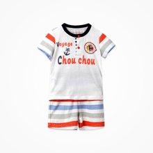 丑丑婴幼男童圆领短套装夏季新款1-3岁男宝宝纯棉外出服短套装