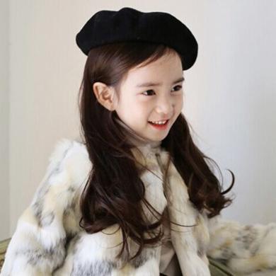 謎子 女童畫家帽秋冬新款童裝貝雷帽女寶寶毛呢帽子時尚百搭親子帽潮