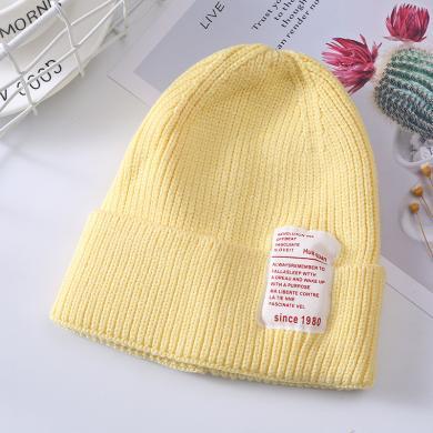 謎子 兒童針織帽秋冬新款女童ins糖果色套頭帽時尚布標寶寶毛線帽