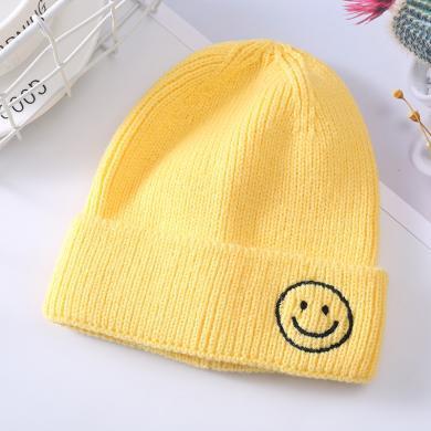 謎子 兒童笑臉針織帽秋冬新款女童ins糖果色套頭帽刺繡笑臉寶寶毛線帽