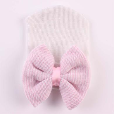 謎子 新生兒寶寶帽子秋冬新款女童針織帽可愛胎帽兒童大蝴蝶結毛衣帽子