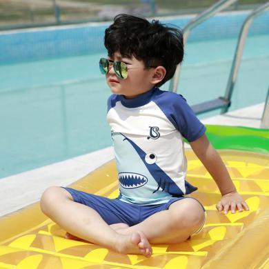 ocsco  兒童泳衣可愛卡通鯊魚男童泳衣短袖寶寶游泳衣小童沙灘帶帽防曬