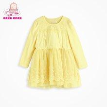 丑丑婴幼 1-4岁女童春装新款 圆领长袖公主蕾丝连衣裙 CGE370X
