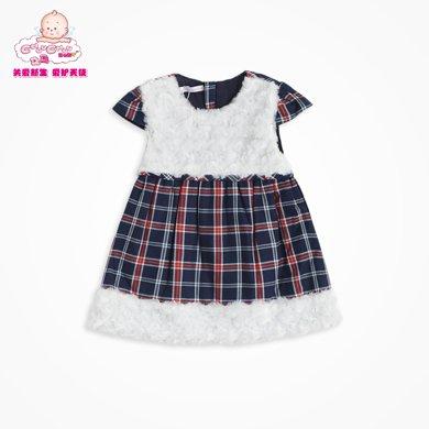 丑丑嬰幼 女寶寶連衣裙冬季女童時尚格子棉背心裙1-4歲 CGE367X