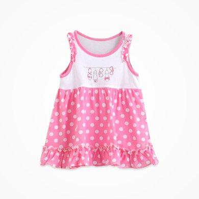 丑丑嬰幼夏季新款 女寶寶可愛公主淑女韓版圓領純棉針織背心裙CFE356T