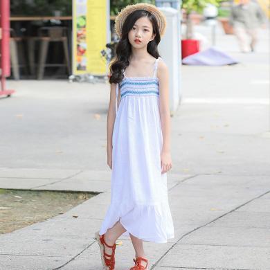 ocsco 儿童连衣裙女童装夏季新款韩版花边裙摆中大童吊带长裙女童装