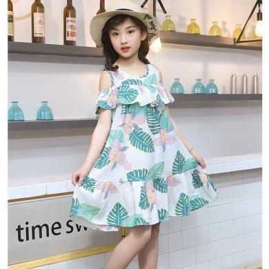 ocsco 小女孩連衣裙女童裝夏季新款綠葉印花露肩中大童連衣裙女童裝