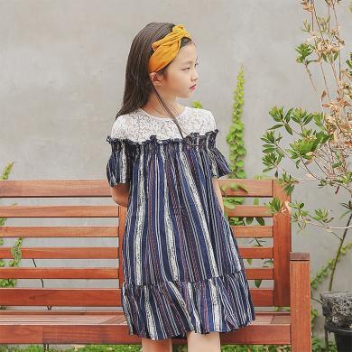 ocsco 小女孩公主裙女童装夏季新款拼接蕾丝韩版条纹中大童连衣裙女童装
