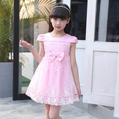 ocsco 小女孩公主裙女童装夏季新款蝴蝶结蓬蓬裙中大童连衣裙女童装