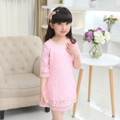 ocsco 小女孩公主裙女童装夏季新款纯色七分袖A字裙中大童蕾丝连衣裙女童装
