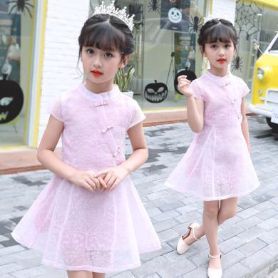 ocsco 小女孩公主裙女童裝夏季新款中大童紐扣旗袍連衣裙女童裝