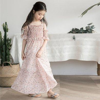 詩茵兒童童裝夏季新款女童連衣裙子雪紡沙灘長裙中大童親子裝80547