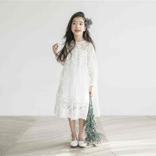 诗茵儿童童装2018夏款韩版女童8分袖蕾丝连衣裙子中大童长裙公主裙80532