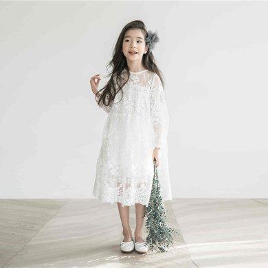 詩茵兒童童裝夏款韓版女童8分袖蕾絲連衣裙子中大童長裙公主裙80532
