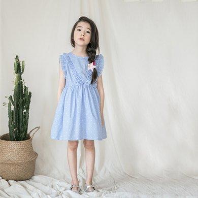 詩茵兒童童裝夏季新款花邊圓領無袖中大女童連衣裙子80549