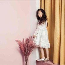 诗茵儿童童装2018春款韩版女童中大童长袖白色蕾丝连衣裙子80542