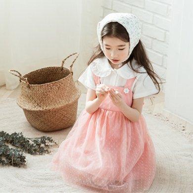 詩茵童裝夏季新款韓版吊帶背帶蕾絲女童連衣裙子80559