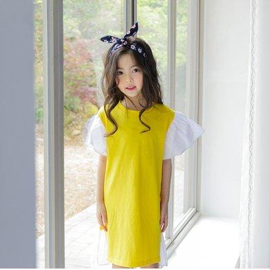 诗茵夏季款童装大儿童喇叭袖纯棉连衣裙子80249