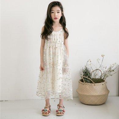 詩茵夏季新款韓版童裝繡花蕾絲吊帶女童連衣裙子公主裙80607