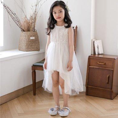 詩茵夏季新款INS風蕾絲網紗女童連衣裙子親子裝禮服蓬蓬裙80609