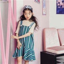 诗茵儿童童装2018夏季款韩版女童连衣裙条纹吊带裙子中大童80543