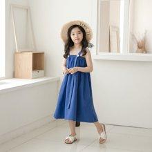 诗茵2018夏季新款蓝色吊带纯棉女童连衣裙INS风沙滩公主长裙80608