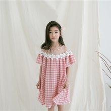 诗茵2018夏季新款韩版童装粉色格子蕾丝边纯棉女童连衣裙子80611