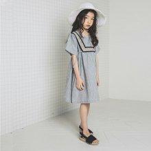 诗茵韩版童装2018夏季新款女童短袖连衣裙子儿童复古条纹衣服80595
