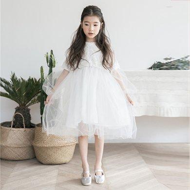 诗茵童装夏季新款蕾丝网纱女童连衣裙中大童长裙公主裙80551