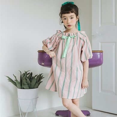 詩茵童裝露肩連衣裙子夏季款女童短袖蝴蝶結條紋連衣裙子80600