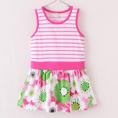 爸媽親兒童連衣裙童裙子童裝中小童裙子夏天拼接背心裙純棉女童花裙50388
