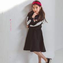 诗茵2018秋季新款韩版童装字母印花连帽纯棉长袖连衣裙中大儿童公主裙80643