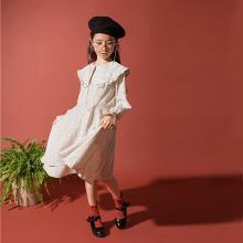 诗茵2019春季新款韩版童装长袖波点花边披肩女童连衣裙子亲子装公主裙80771
