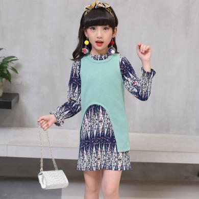 ocsco 儿童裙套装女童装春秋装新款韩版时尚长袖中大童连衣裙两件套