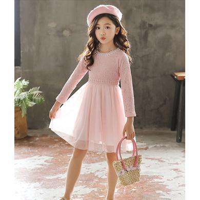 ocsco 小女孩公主裙春秋裝新款女童裝甜美百搭長袖蕾絲中大童網紗連衣裙