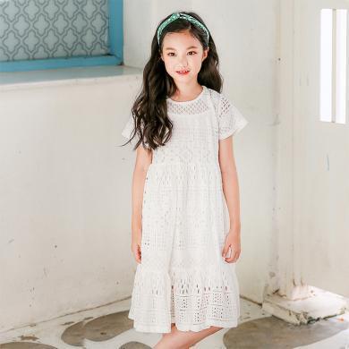 ocsco 儿童裙套装女童装夏季新款镂空圆领吊带内搭中大童连衣裙两件套女