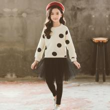 ocsco 中大童套裝女童裝春秋裝新款韓版時髦波點衛衣+純色網紗裙兒童裙兩件套女