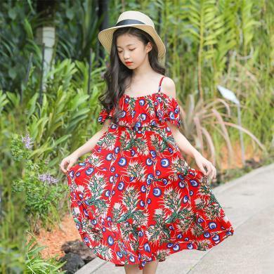 ocsco 兒童連衣裙女童裝夏季新款韓版碎花荷葉邊吊帶裙中大童公主裙