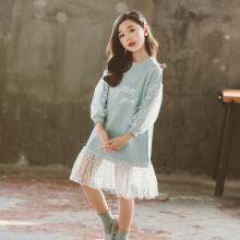 ocsco 兒童衛衣裙女童裝春秋裝新款韓版時髦百搭拼接網紗中大童長袖連衣裙