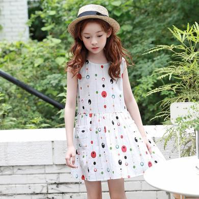 ocsco 中大童背心裙女童装夏季新款宽松圆领彩色波点小女孩无袖连衣裙
