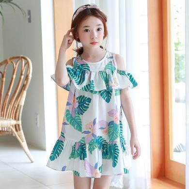 ocsco 夏季新款韩版童装连衣裙露肩儿童沙滩裙度假宽松A字童裙