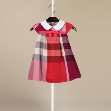 ocsco 童裝連衣裙夏季新款女童時尚可愛百搭格子娃娃領兒童裙女