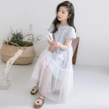 诗茵2019夏季新款女童中大童纯棉T恤+吊带网纱裙套装亲子装80951