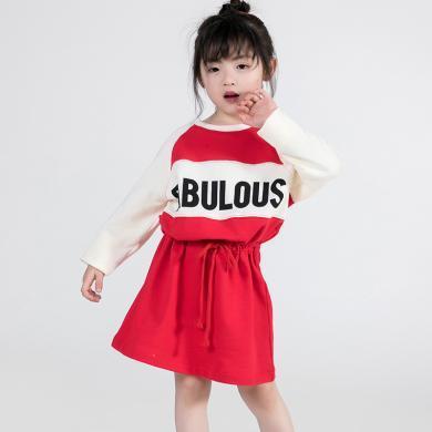 ocsco 童装连衣裙夏季新款时尚韩版英文印花长袖中小儿童连衣裙女