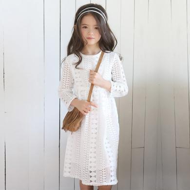 ocsco 春夏装新款时尚韩版女童连衣裙中大童修身镂空长袖儿童公主裙女